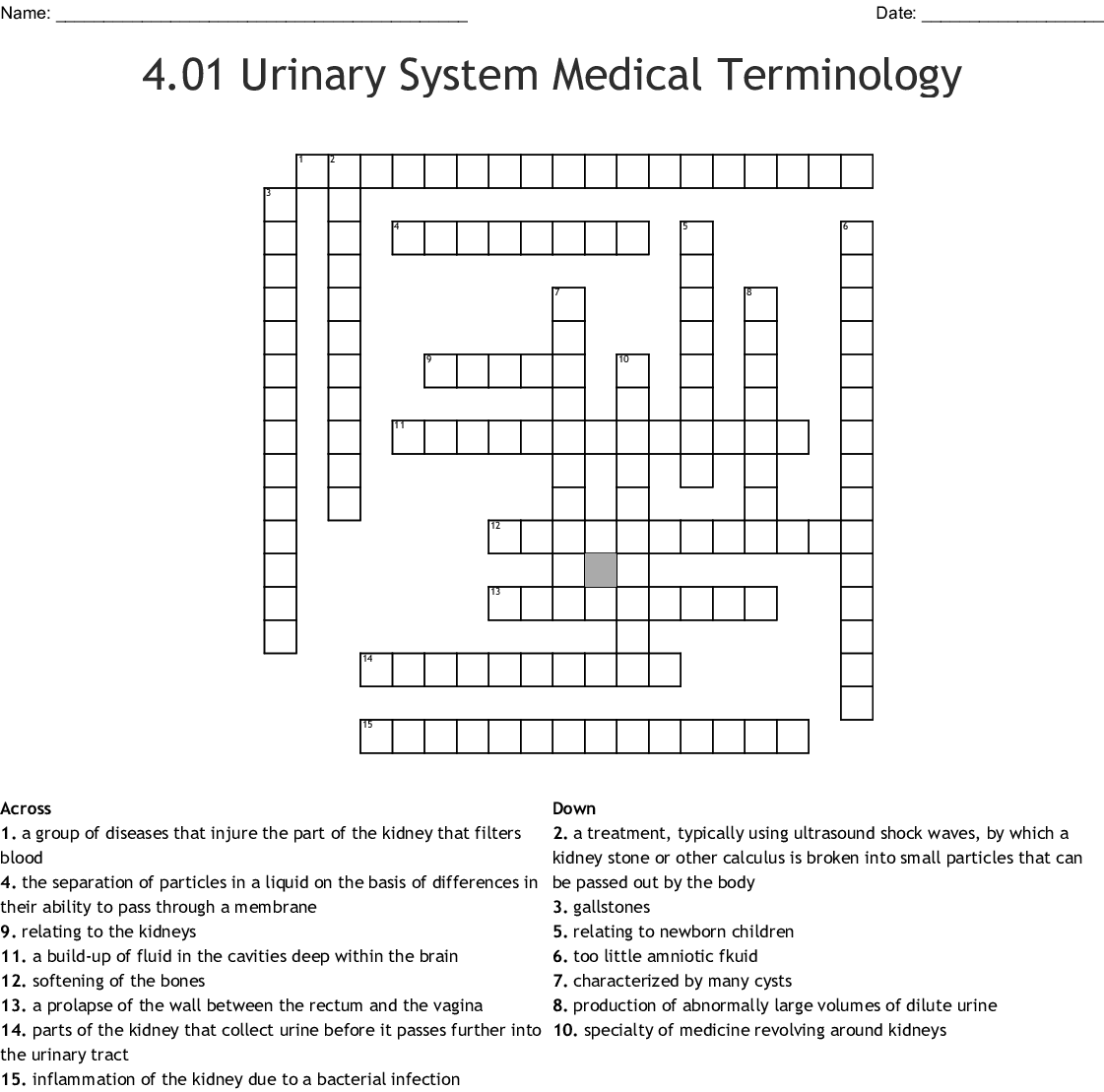 4 01 Urinary Medical Terminology Crossword