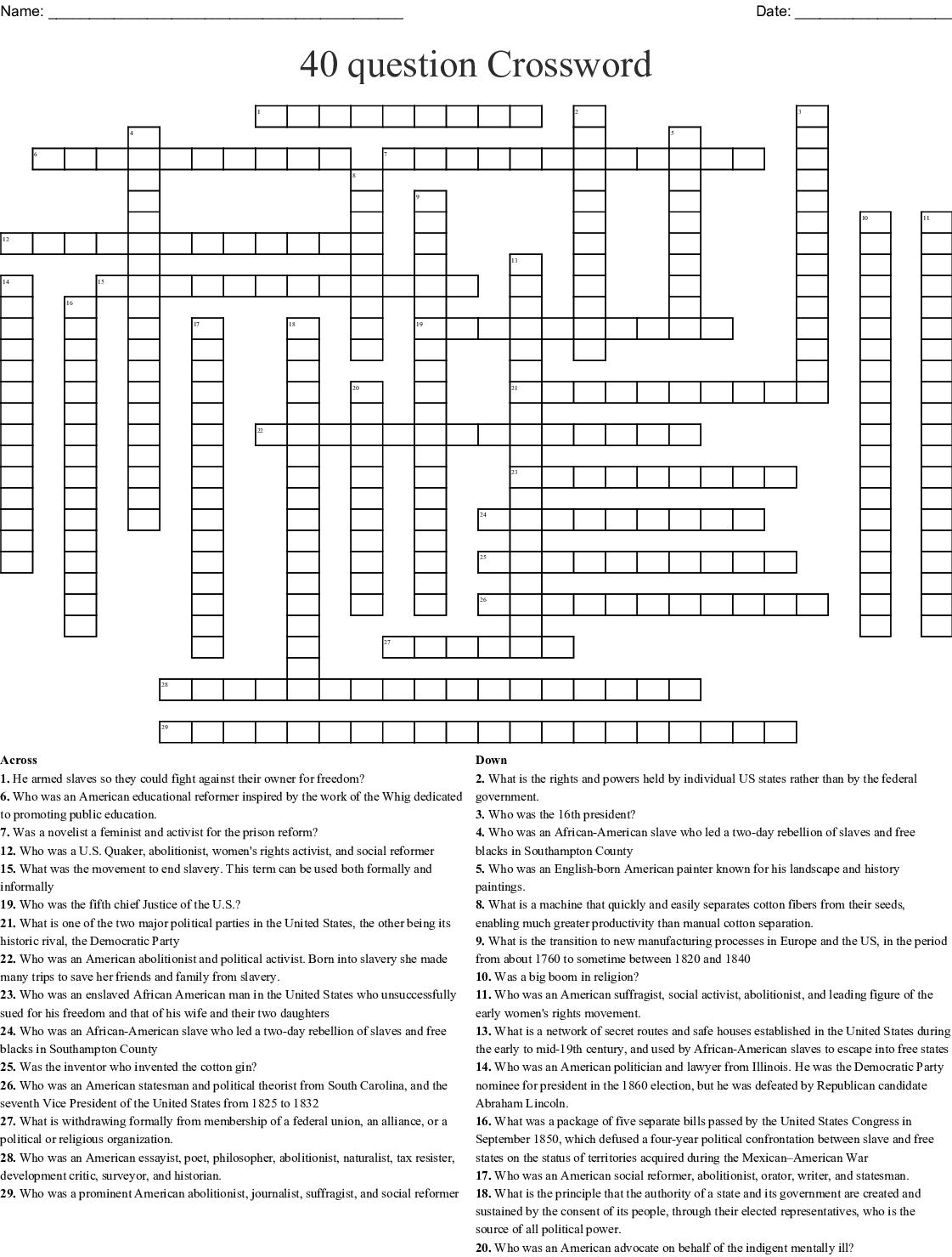 40 Question Crossword