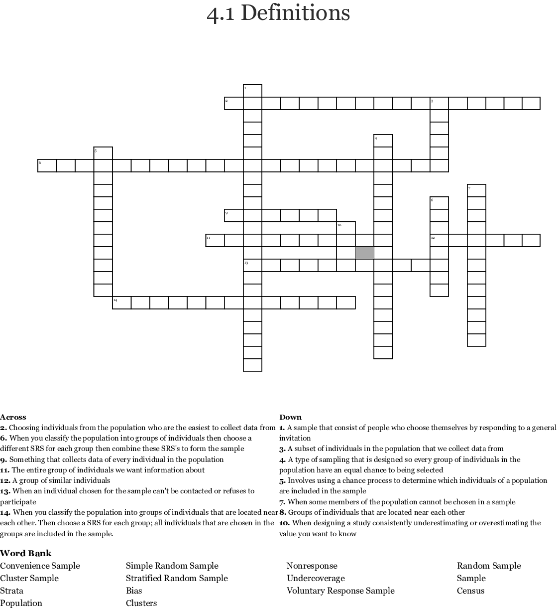 Similar To Ap Statistics Experimental Design Crossword