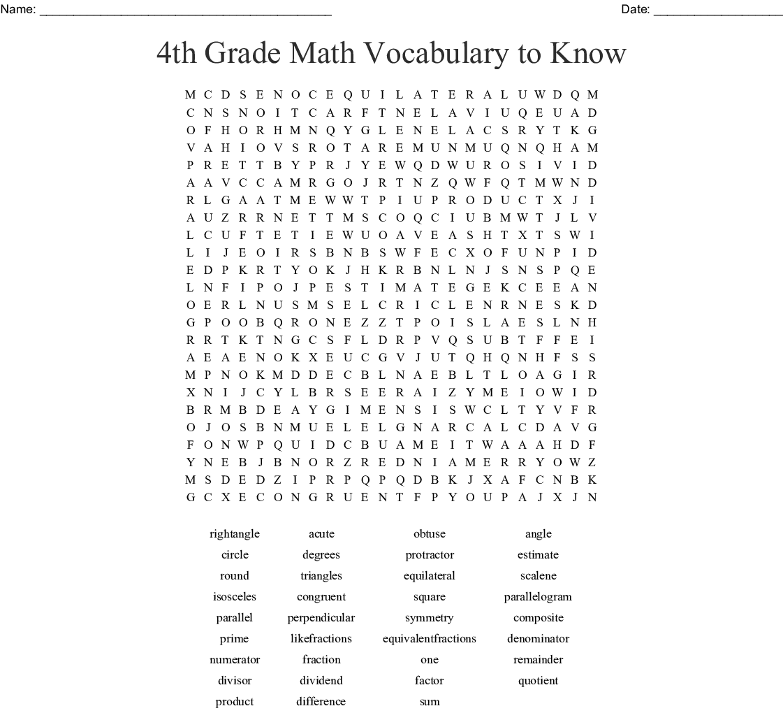 4th Grade Math Vocabulary To Know Word Search