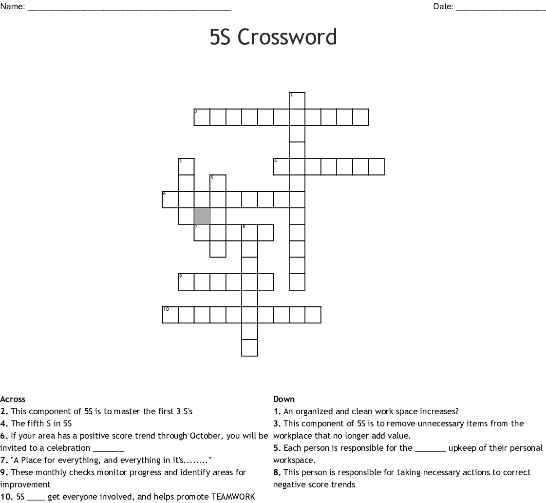 5s Crossword