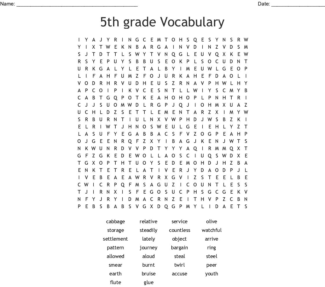 5th Grade Vocabulary Word Search