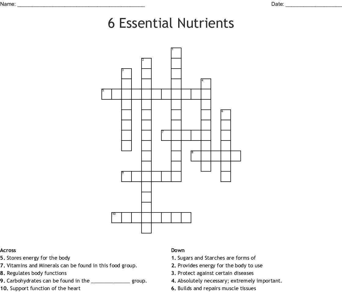 Nutrients Word Search
