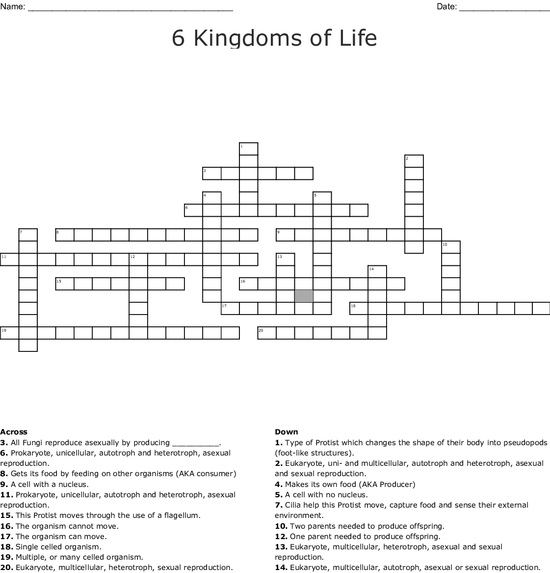 6 Kingdoms Of Life Crossword