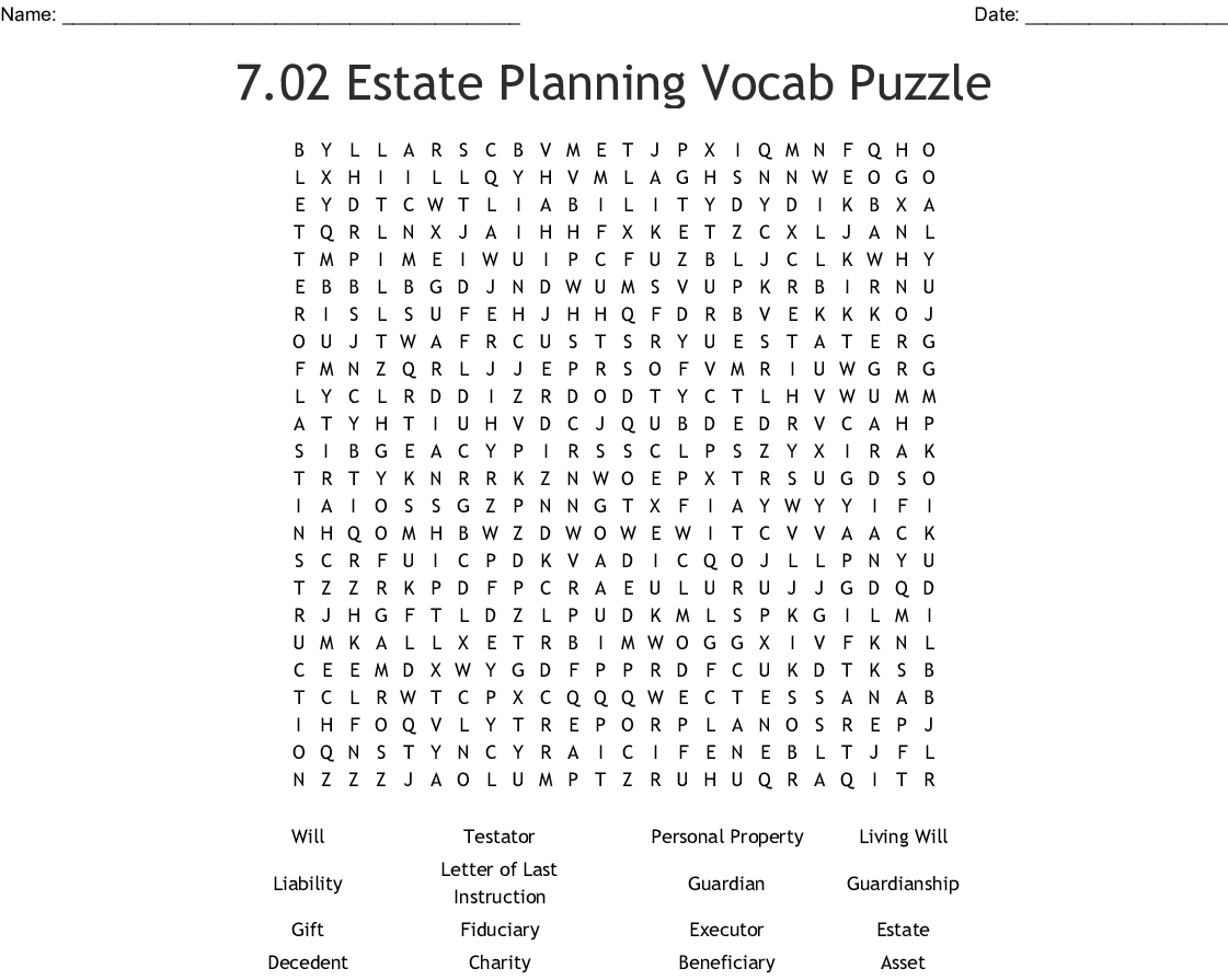 7 02 Estate Planning Vocab Puzzle Word Search