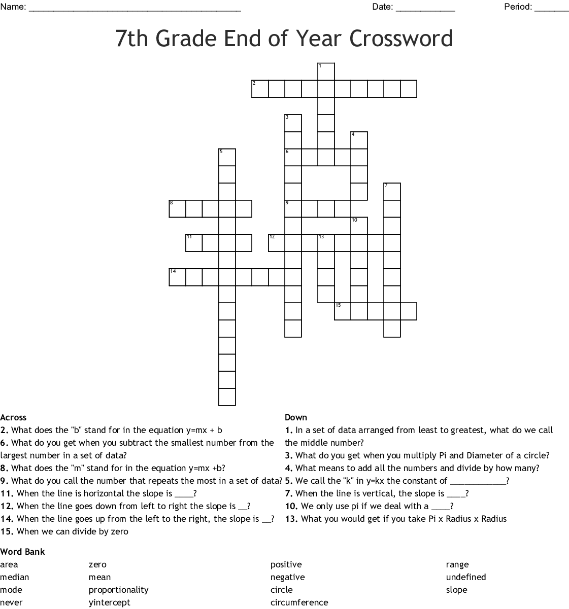 7th Grade End Of Year Crossword