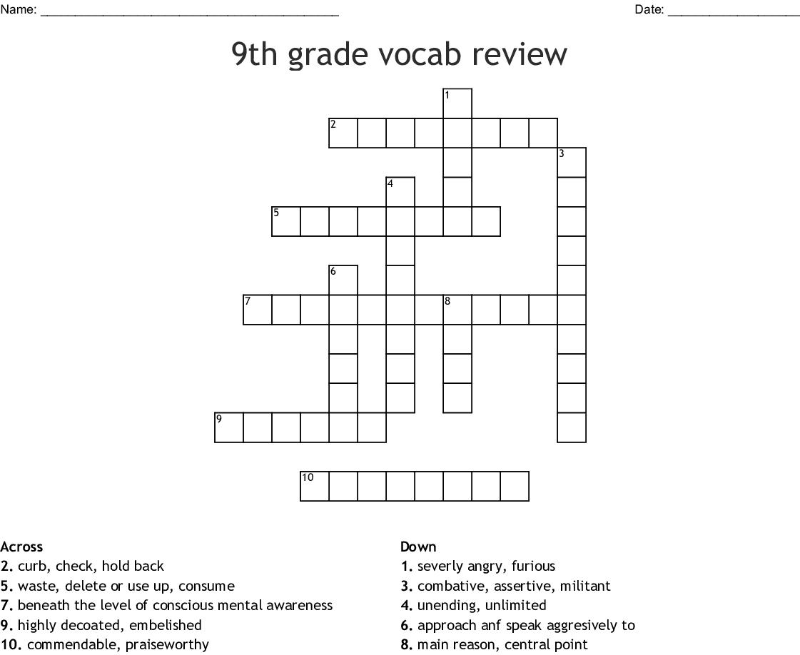9th Grade Vocab Review Crossword
