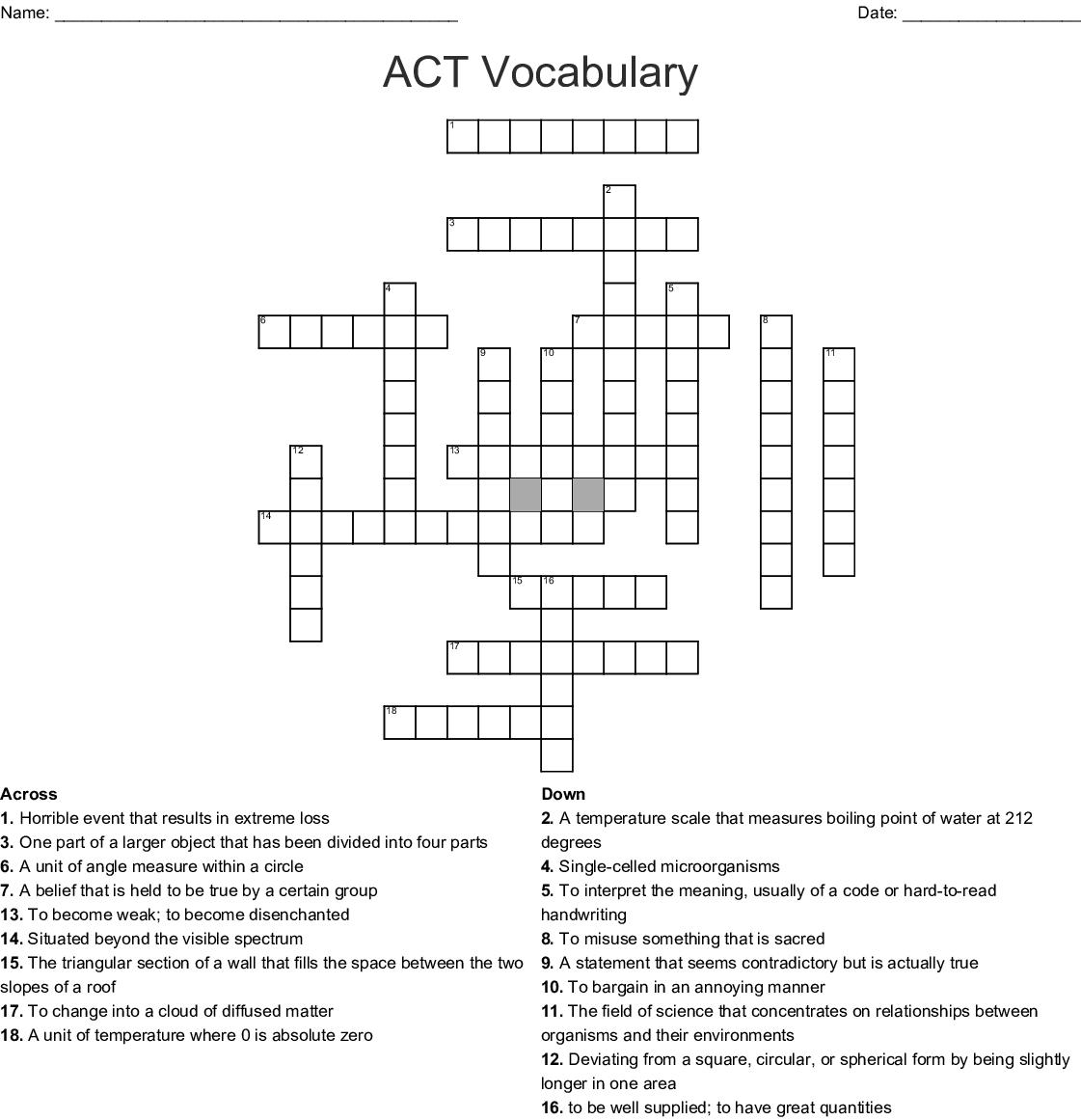 Act Vocabulary Crossword