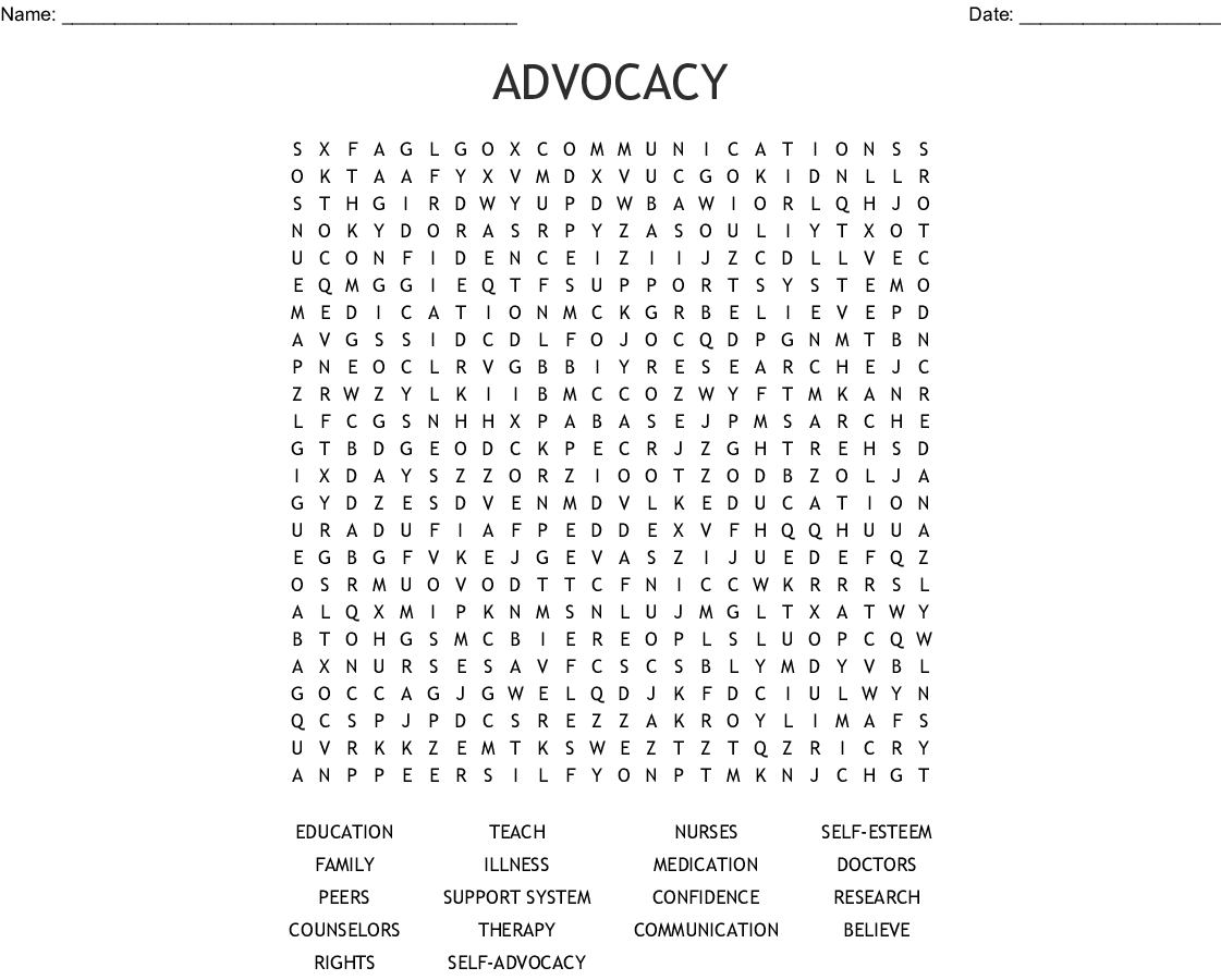 Self Advocacy Word Search