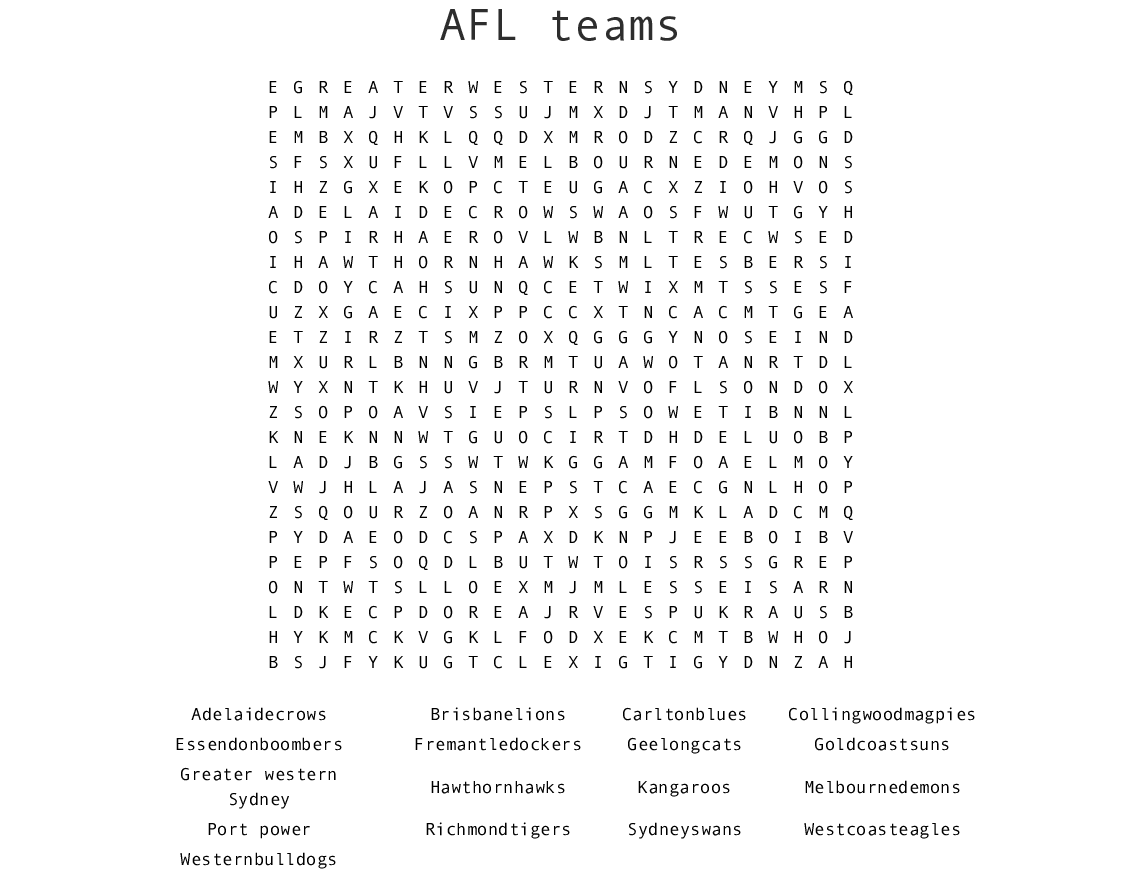 Afl Teams Word Search