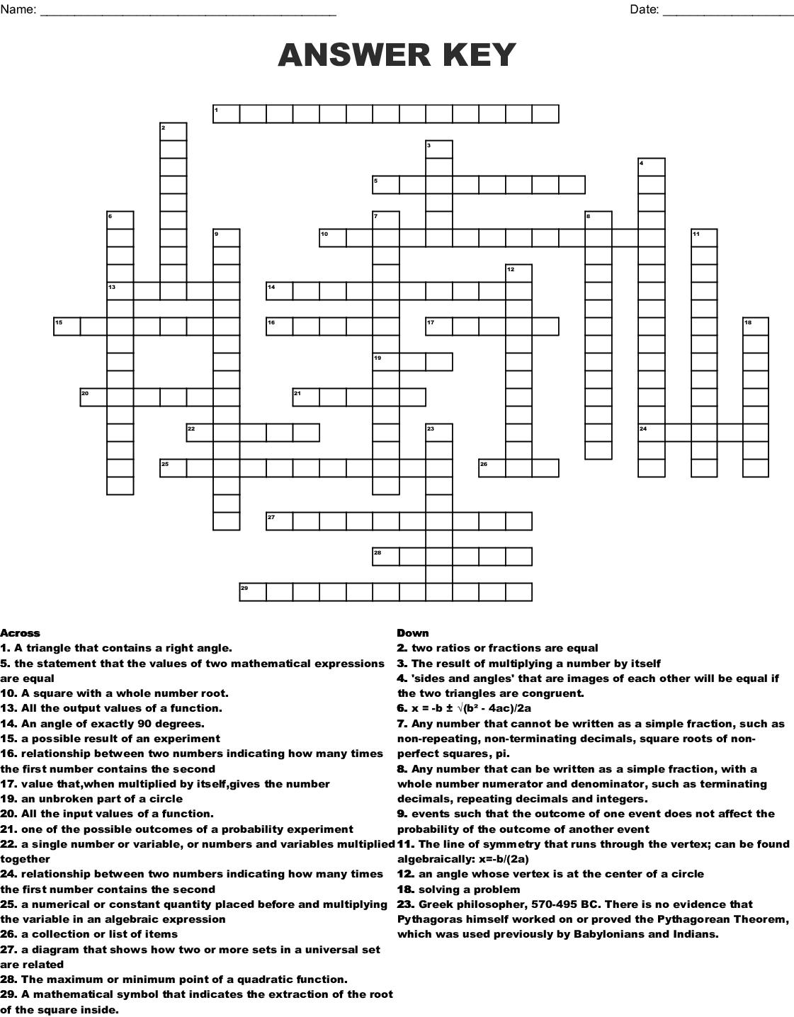 Answer Key Crossword