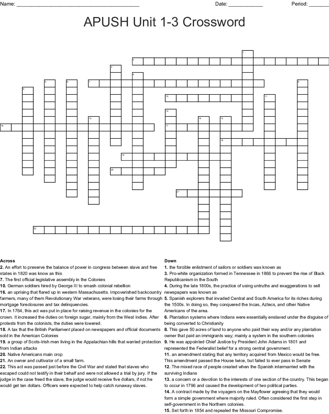 Apush Unit 1 3 Crossword