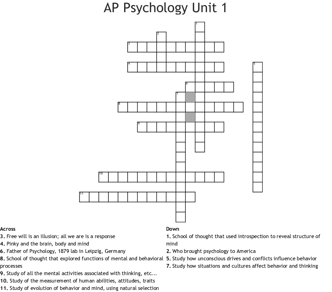Psychology Crosswords Word Searches Bingo Cards