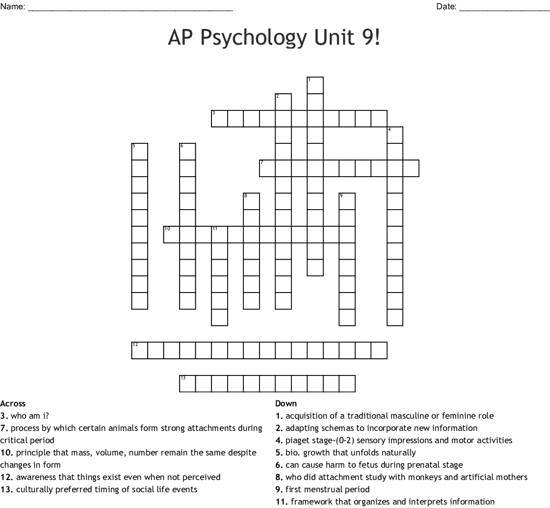 Ap Psychology Unit 9 Crossword