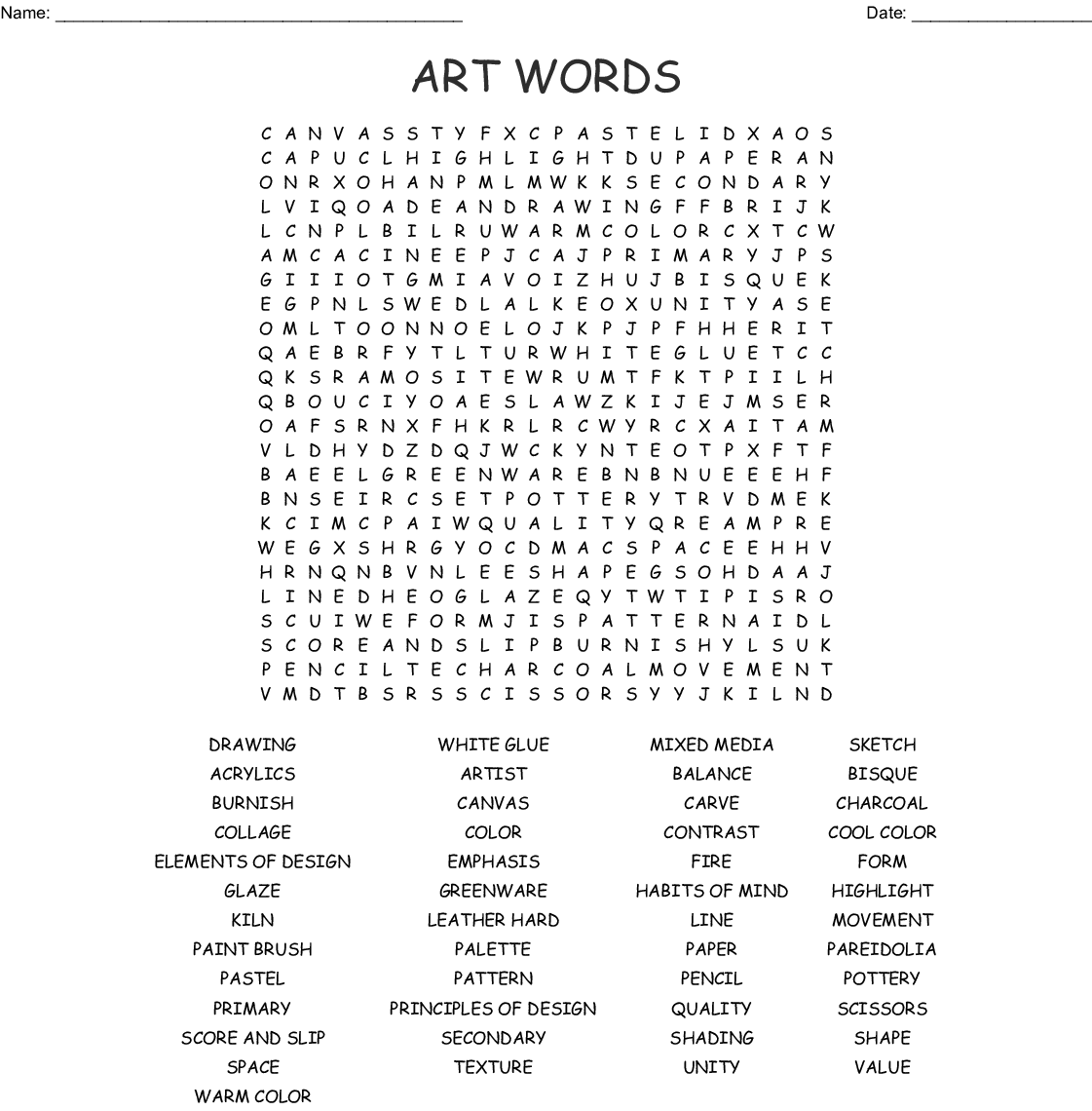 Visual Art Amp Design Crosswords Word Searches Bingo Cards