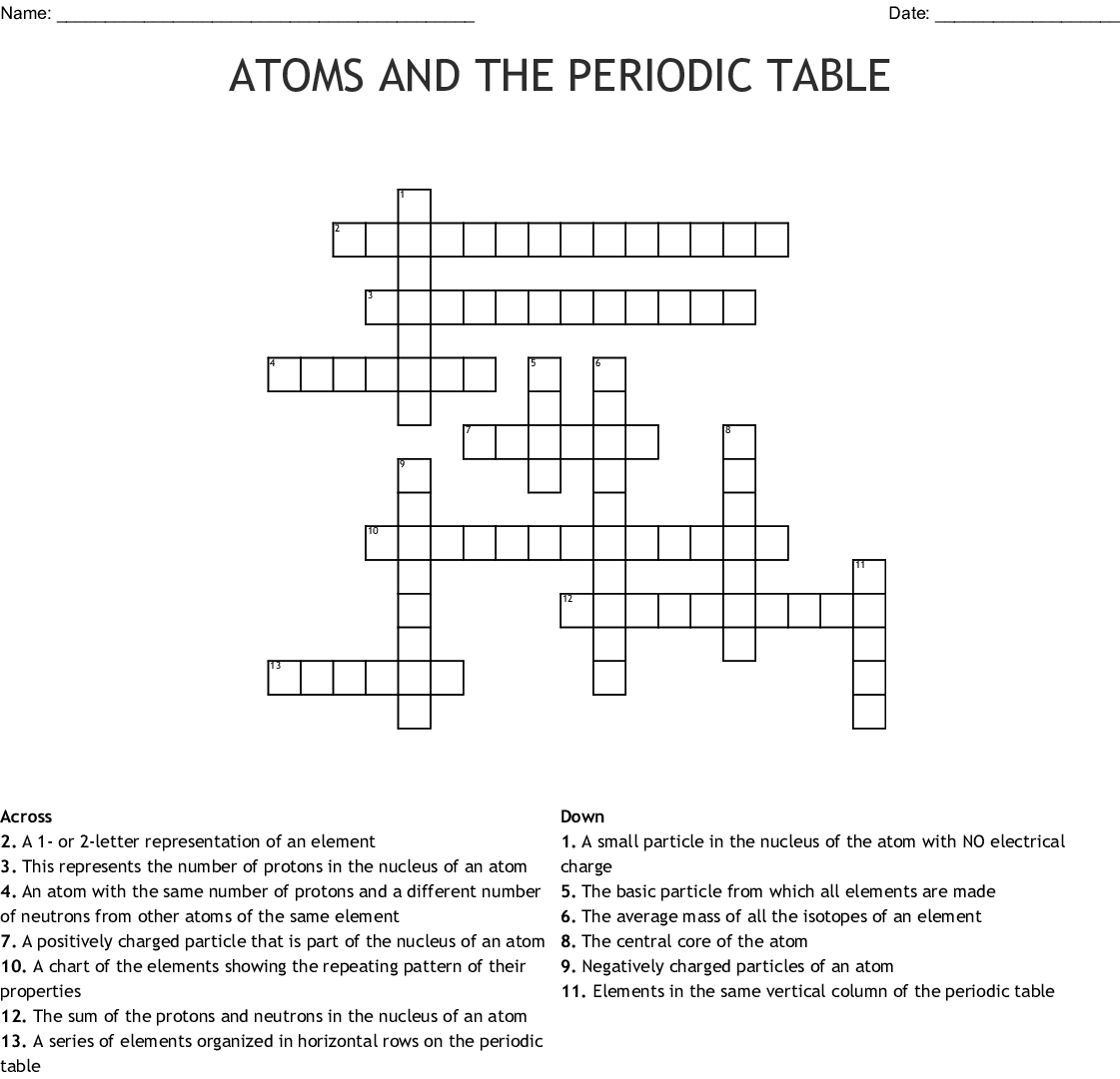 High School Periodic Table Puzzle Answers