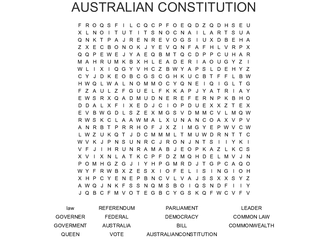 Australian Constitution Word Search