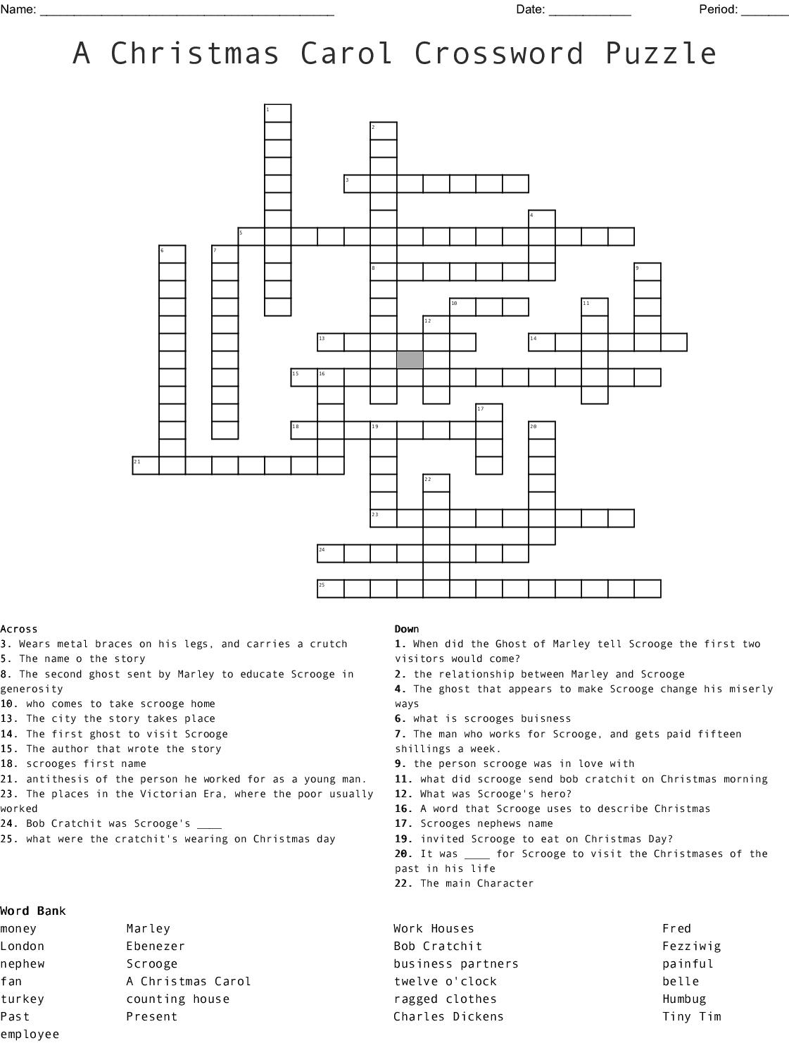 A Christmas Carol Crossword Puzzle