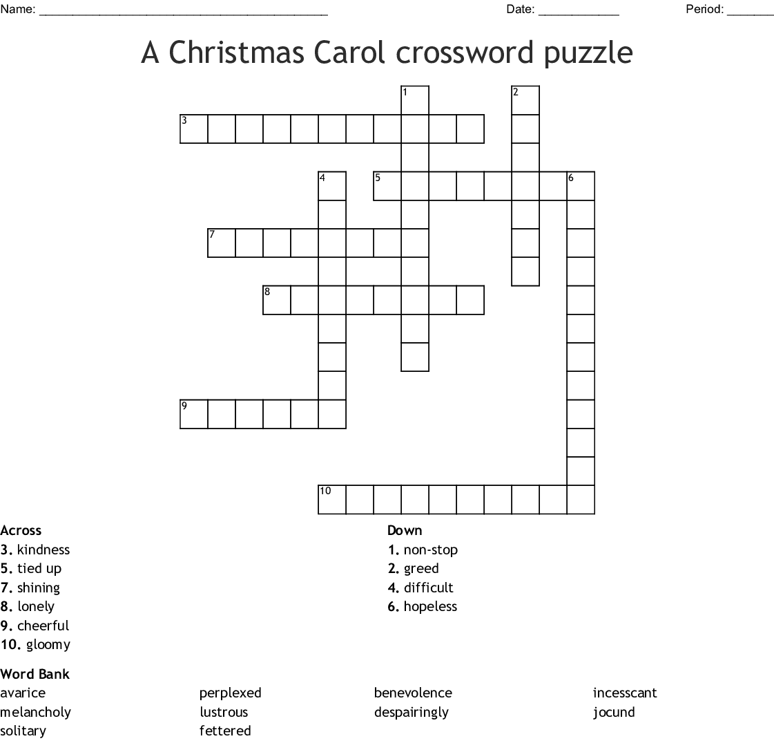 A Christmas Carol Vocabulary Crossword