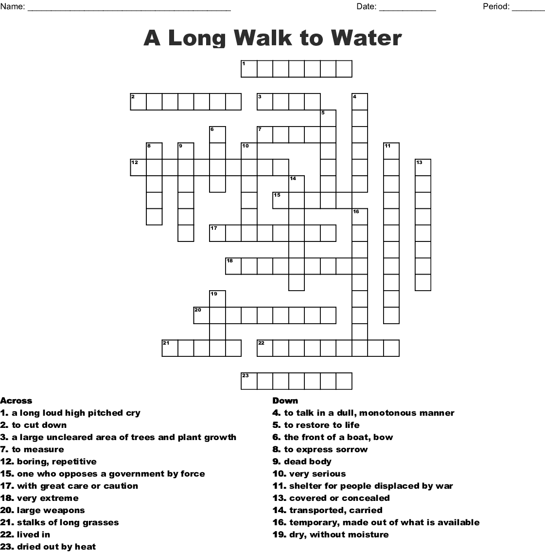A Long Walk To Water Crossword