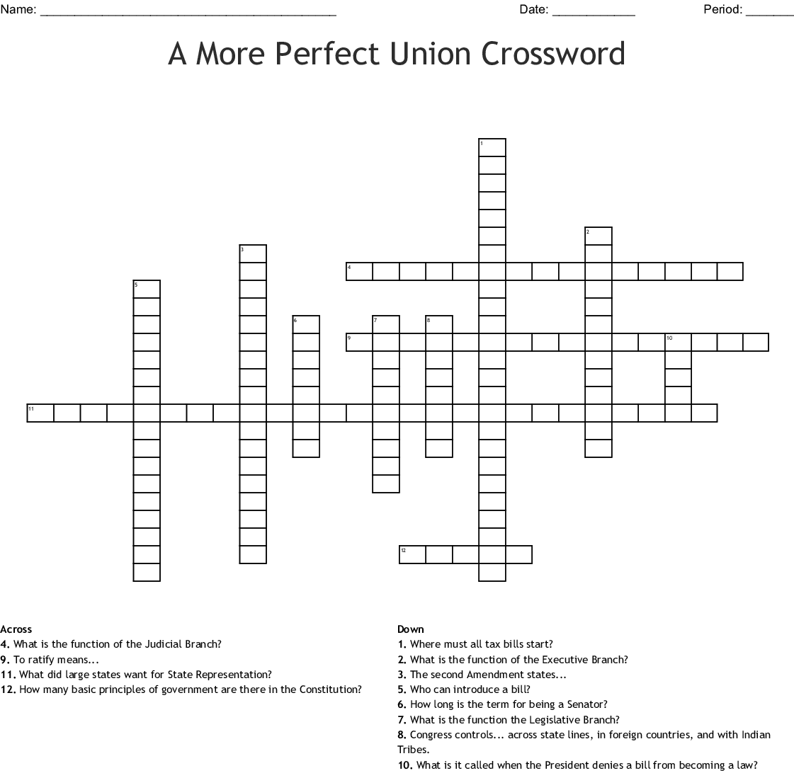 A More Perfect Union Crossword