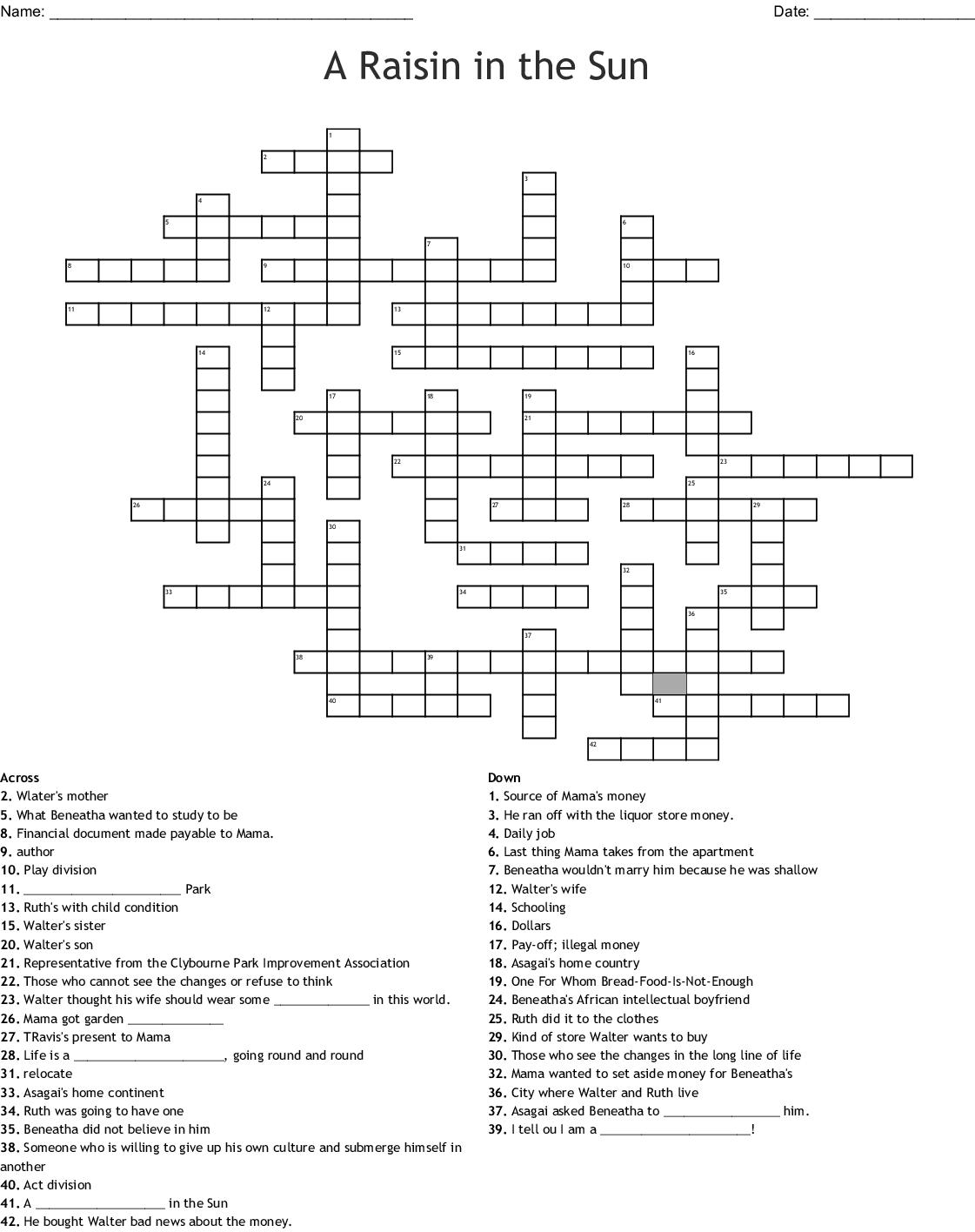 A Raisin In The Sun Crossword
