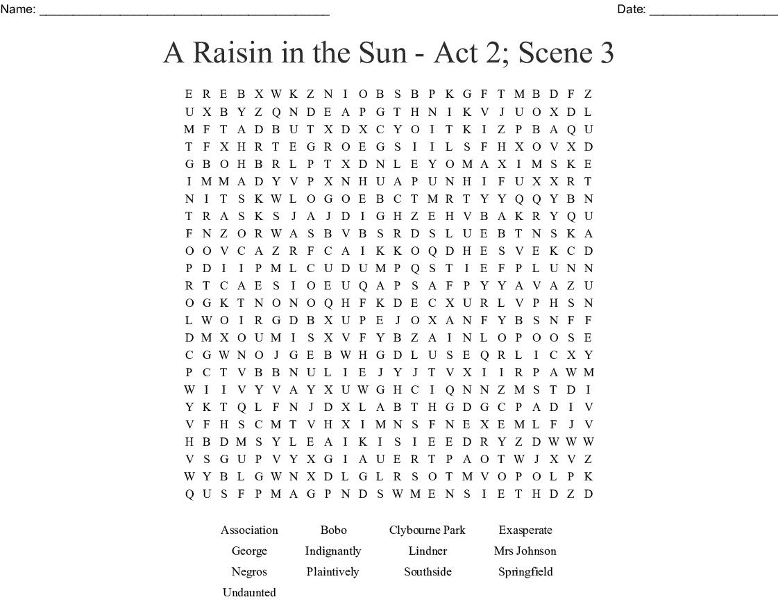 Raisin In The Sun Vocabulary Word Search