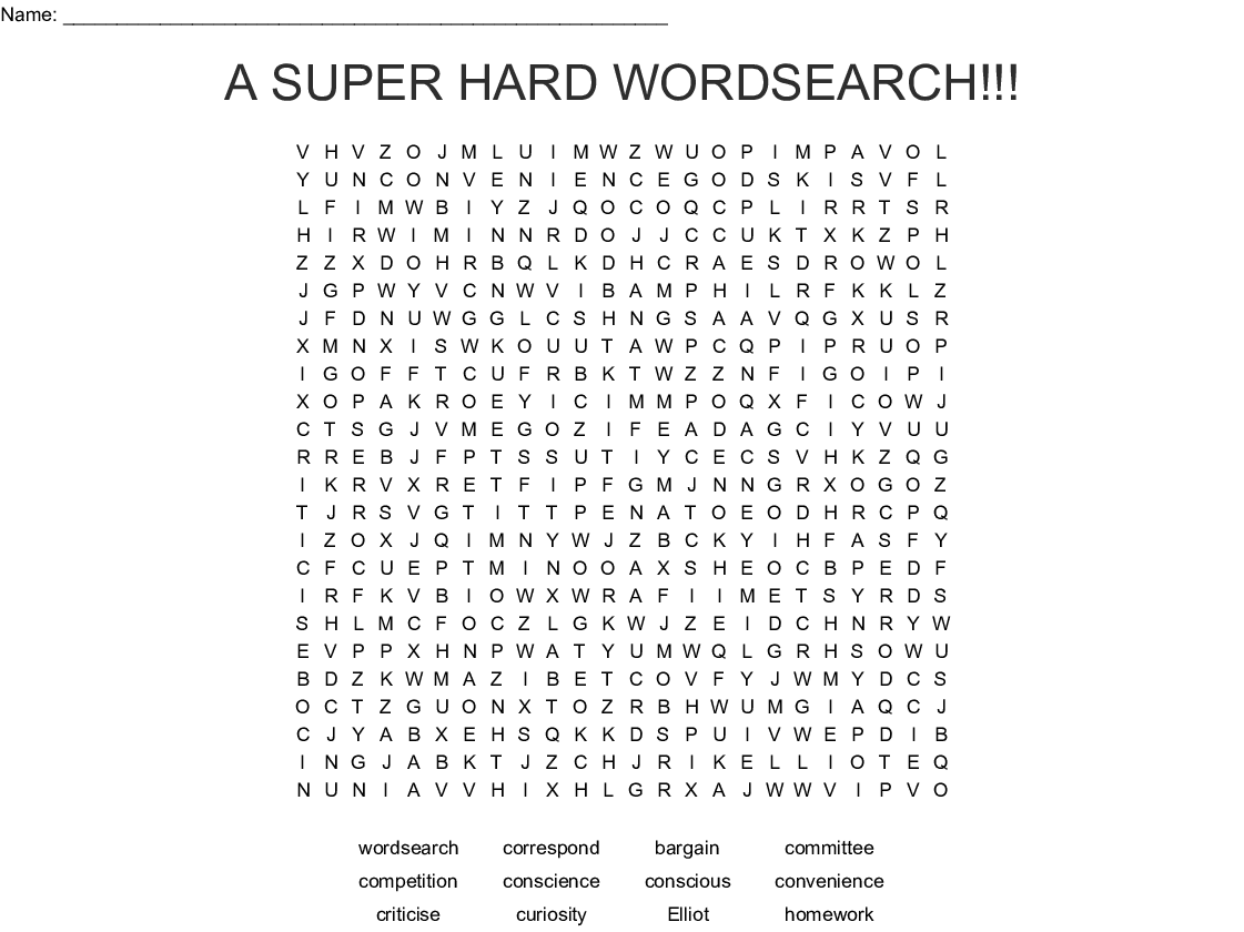 Word Search Worksheet Hard
