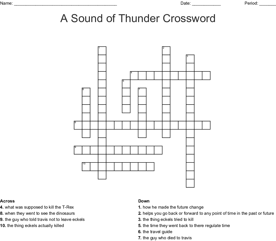 A Sound Of Thunder Word Search