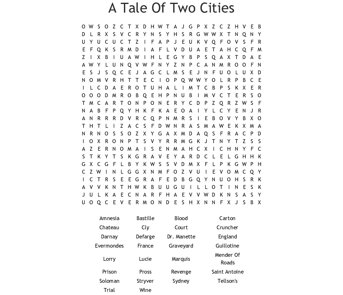 A Tale Of Two Cities Word Search