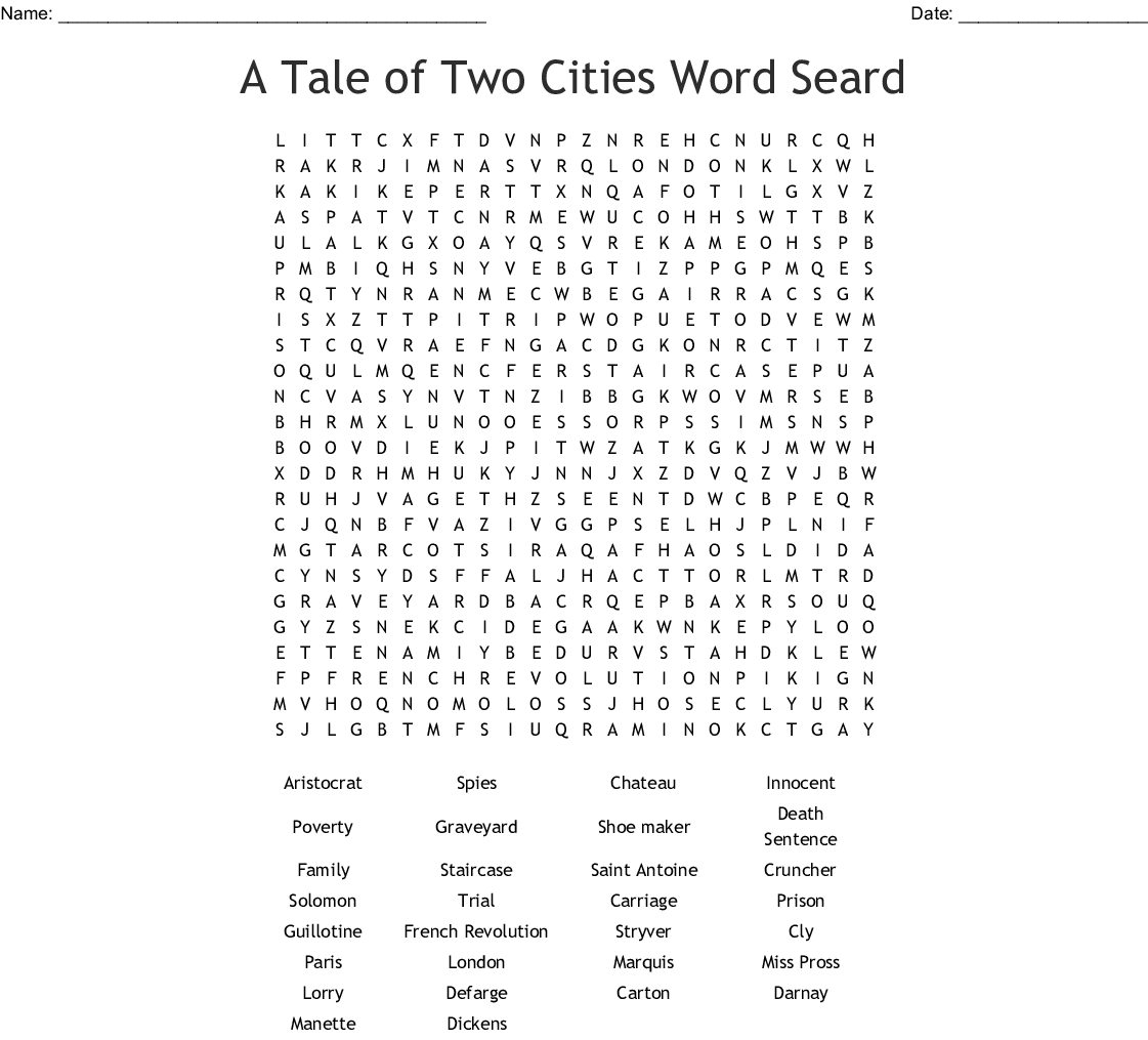 Tale Of Two Cities Word Search