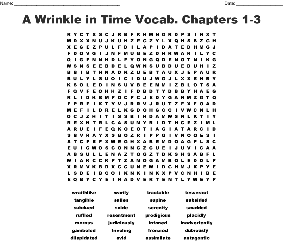 A Wrinkle In Time Vocab Chapters 1 3 Word Search