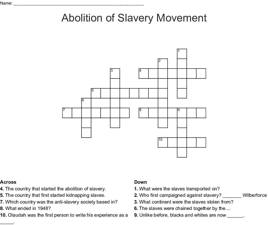 Abolition Of Slavery Movement Crossword