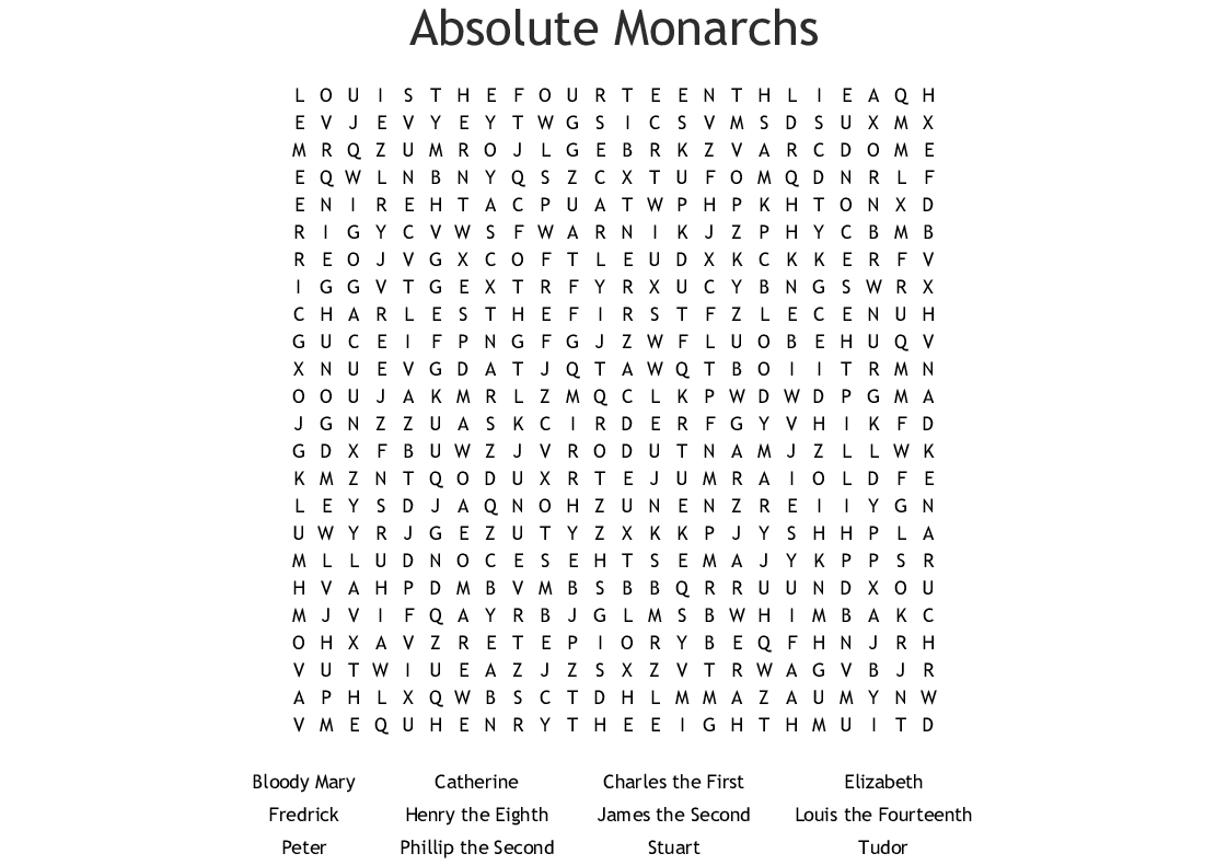 Absolute Monarchs Word Search