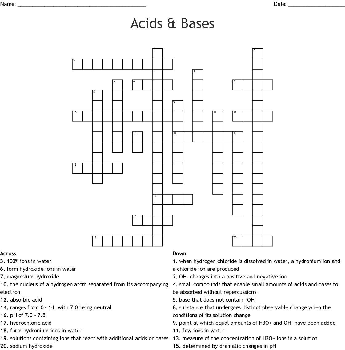 Acids Bases And Salts Crossword