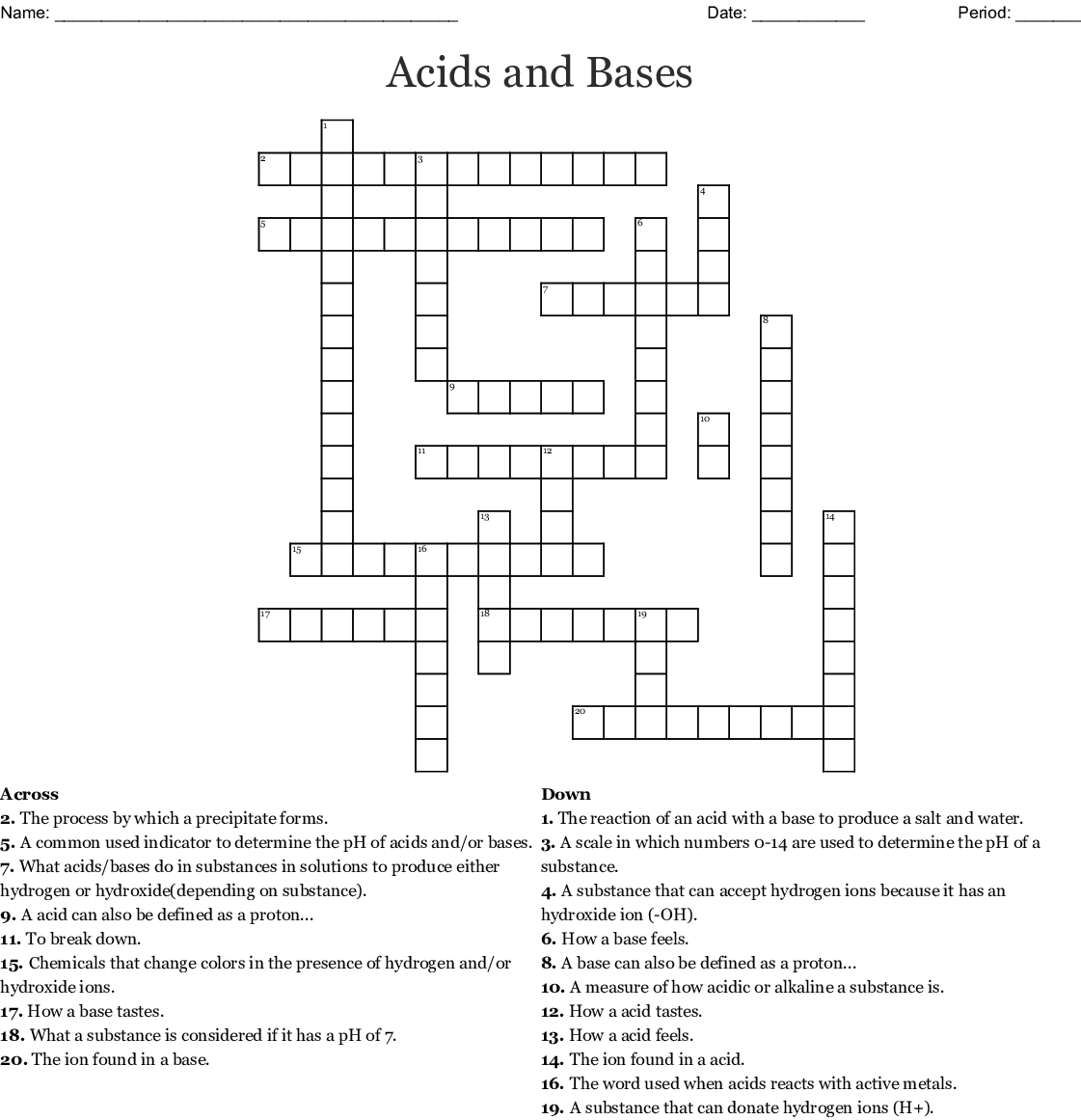Acids And Bases Crossword