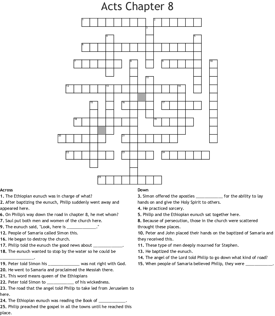 Acts Chapter 8 Crossword