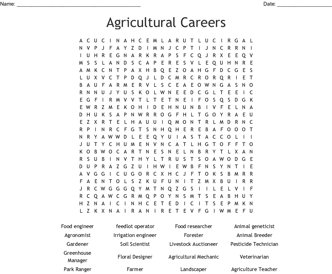 Free Worksheet Agriculture