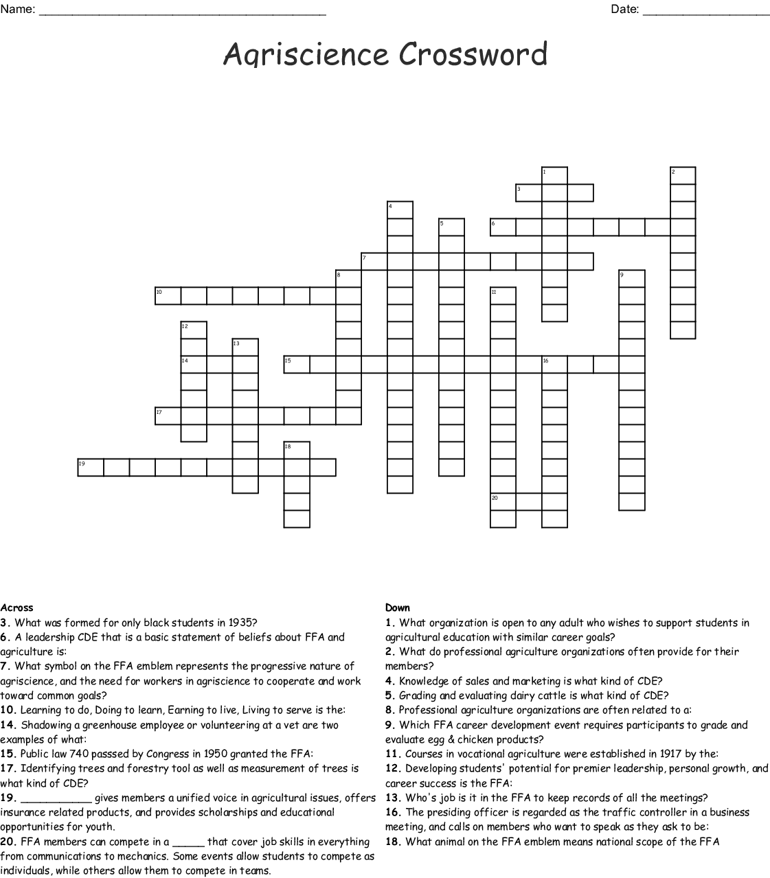 Young Nation Period Crossword