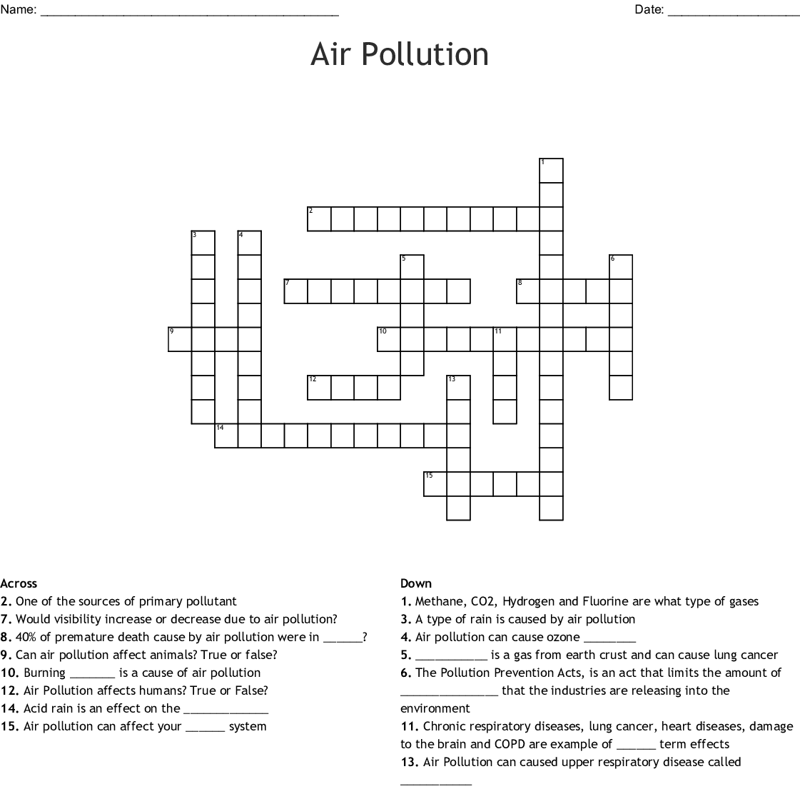 Air Pollution Global Warming Crossword Puzzle