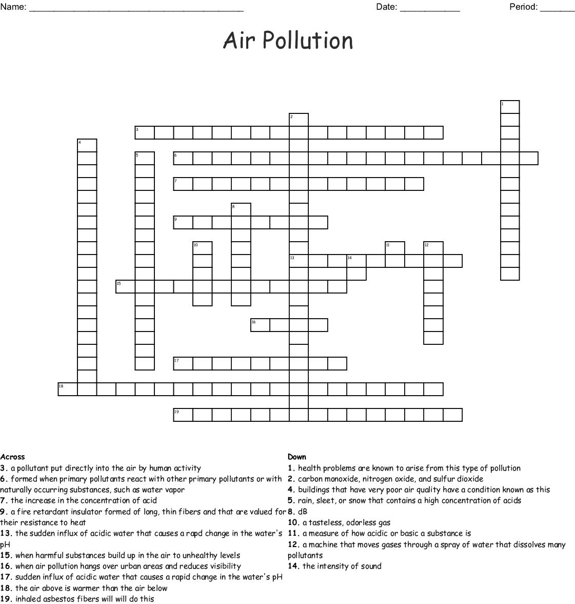 Atmospheric Pollution Crossword