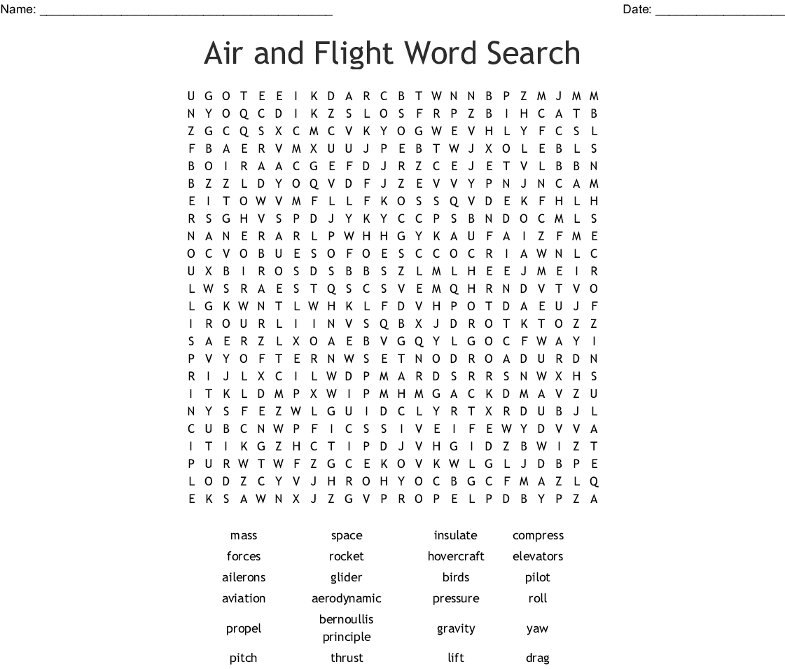 Air And Aerodynamics Word Search