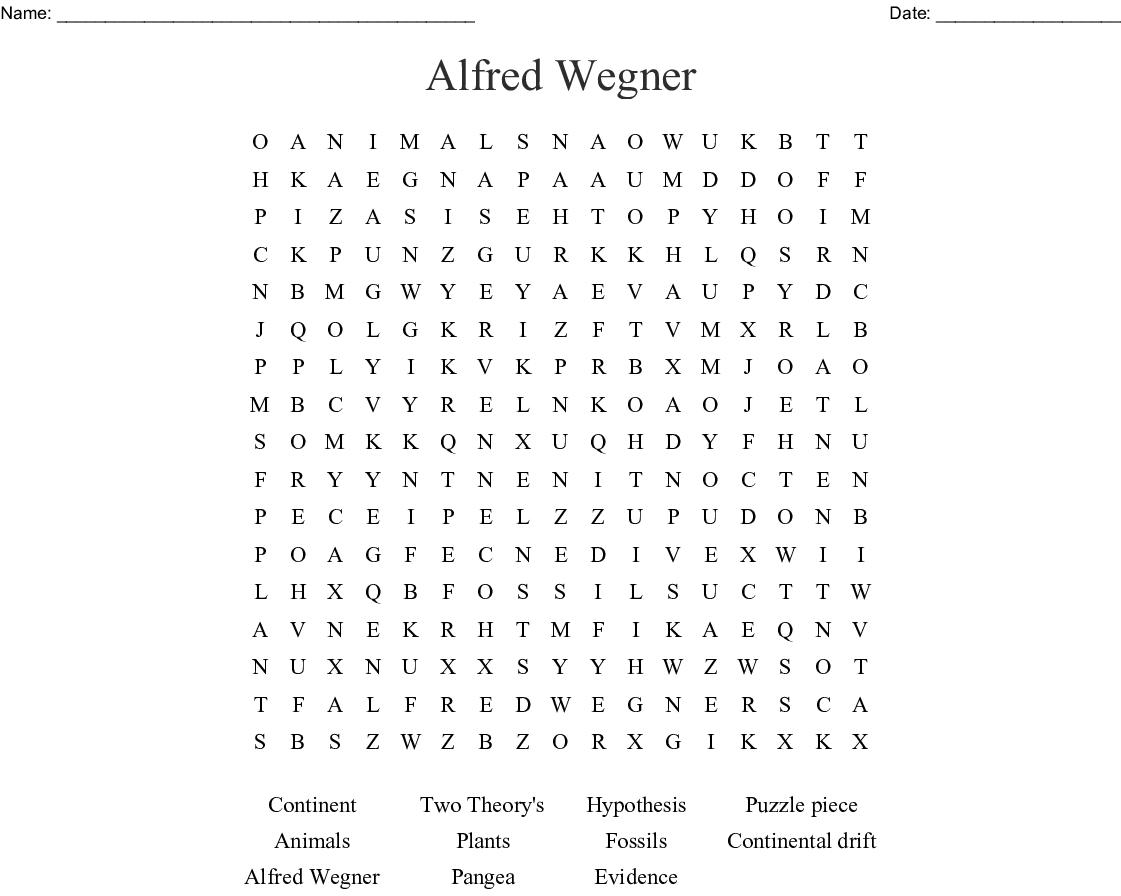 Continental Drift Theory Crossword