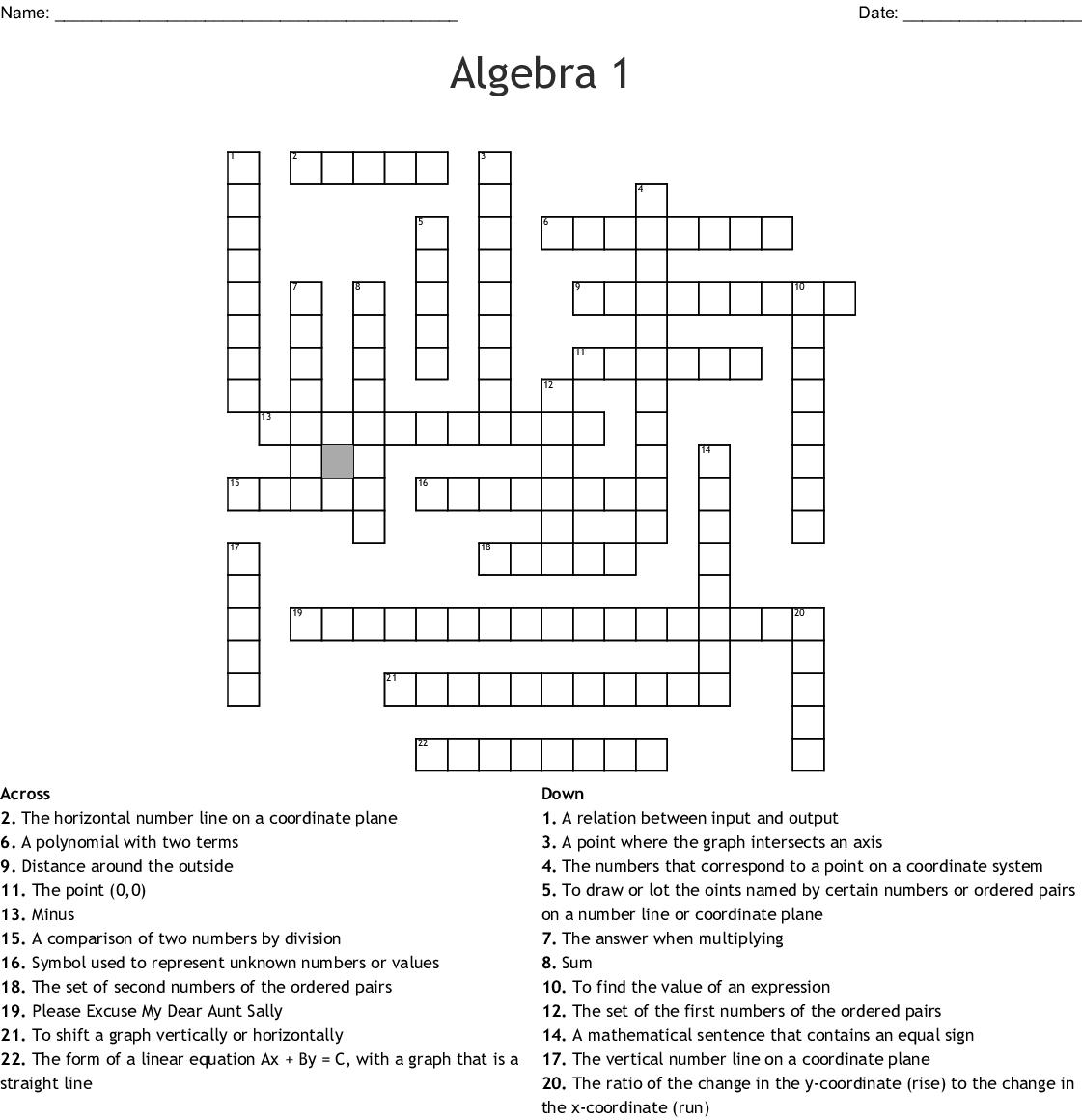 Algebra 1 Function Notation Worksheet Zone