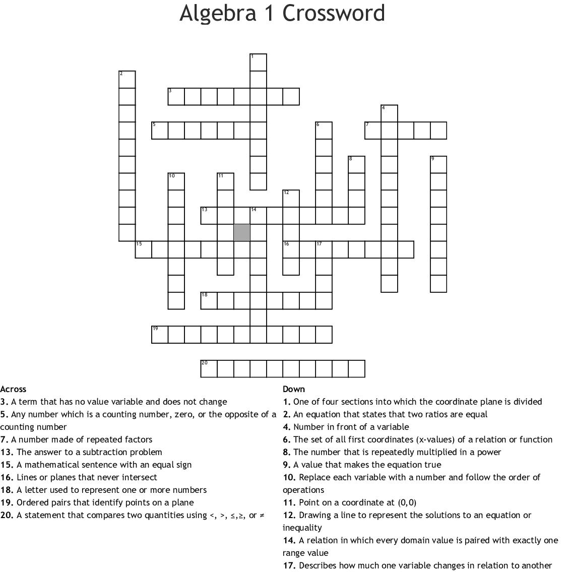 Algebra 1 Crossword