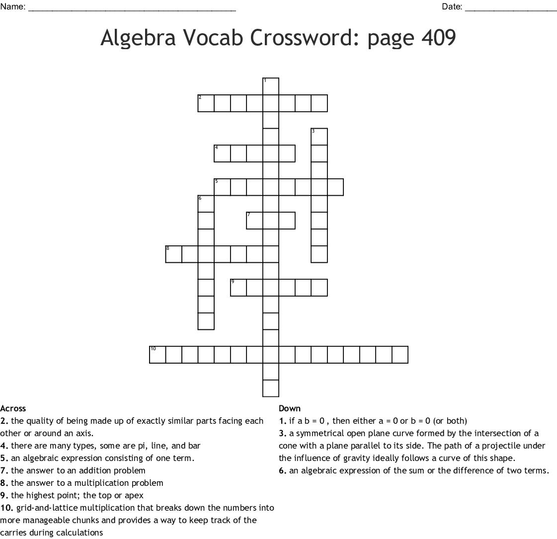 Algebra Vocab Crossword Page 409 Crossword