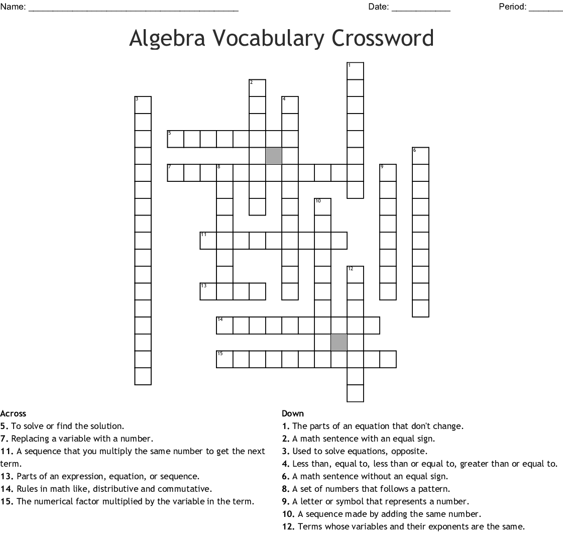 Algebra Vocabulary Crossword