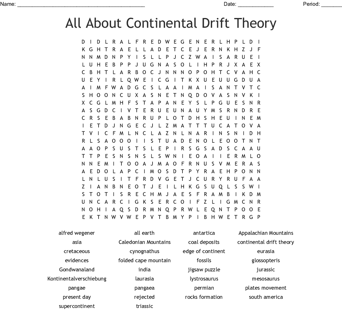 Continental Drift Theory Crossword