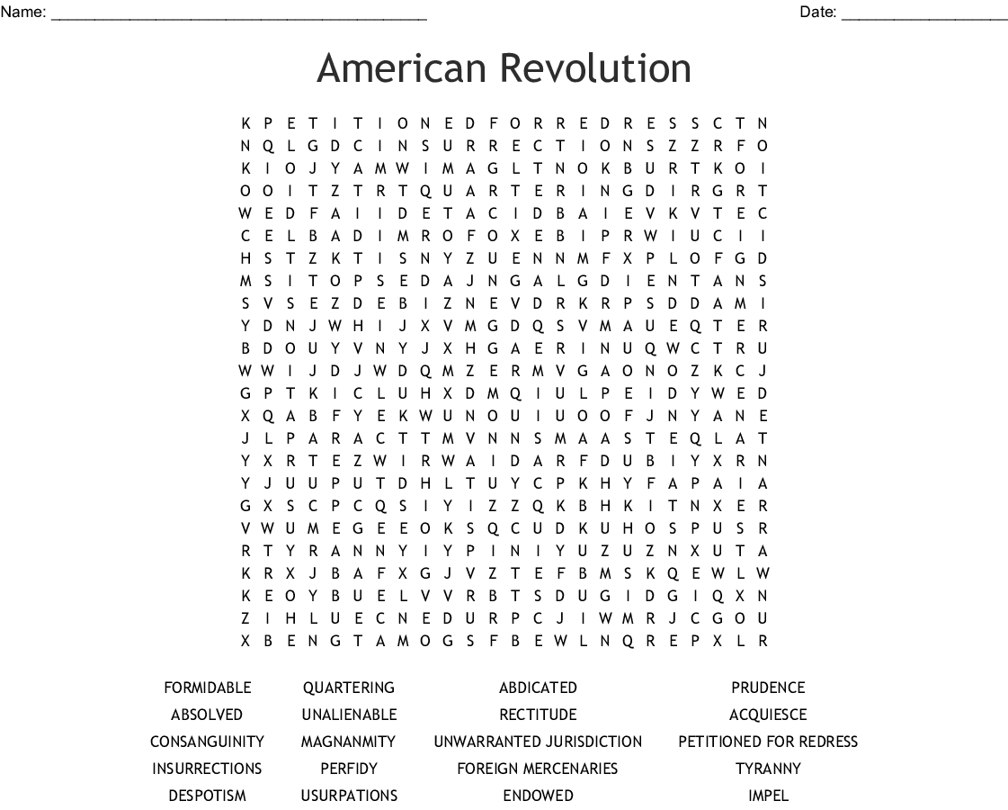 The Declaration Of Independence Crossword