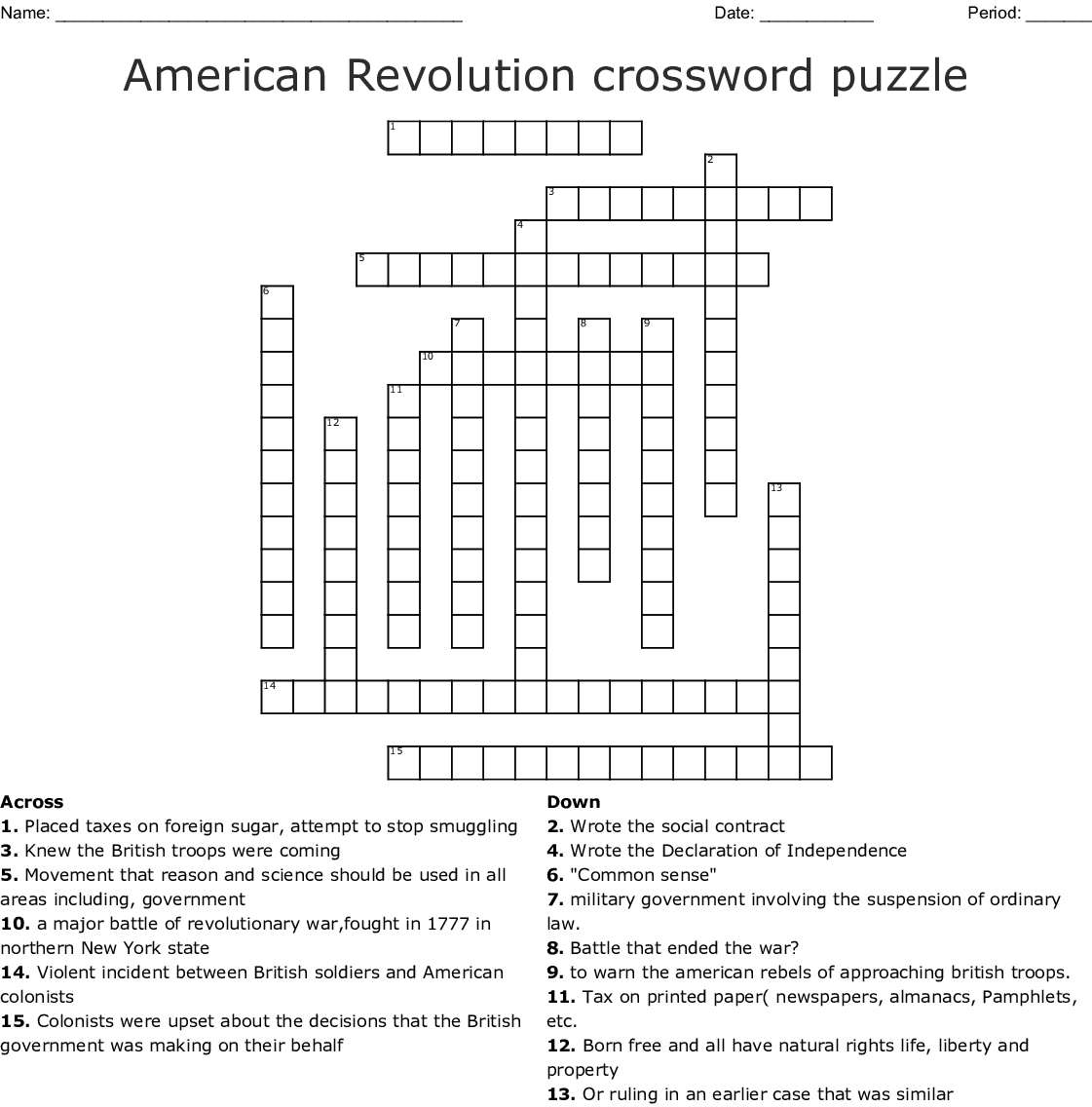 American Revolution Crossword